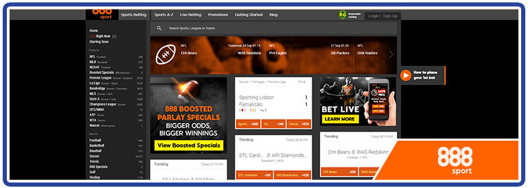 888sport sports betting page