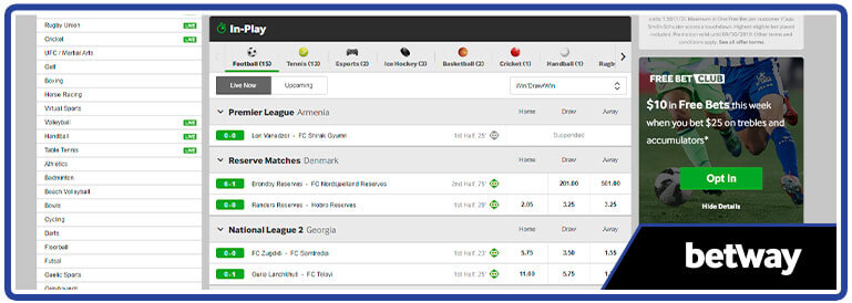review betway sports in play section