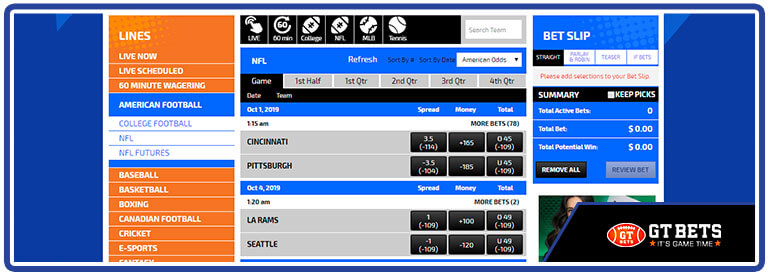 review gtbets sportsbook page