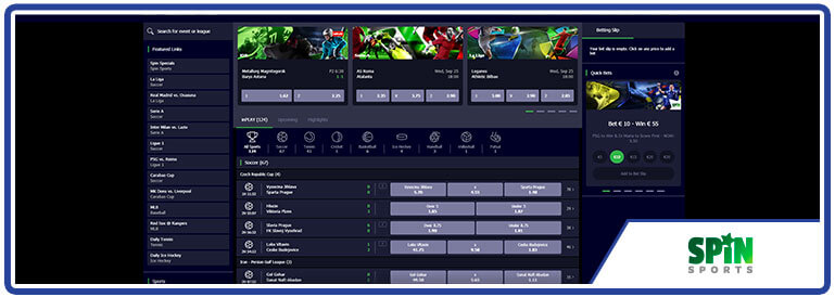 Review Spin Sports Live Betting Options