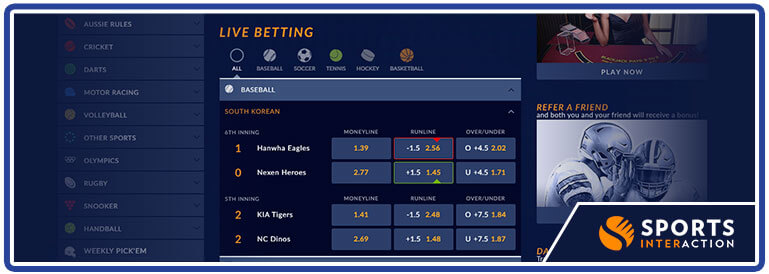 sports interaction live betting options