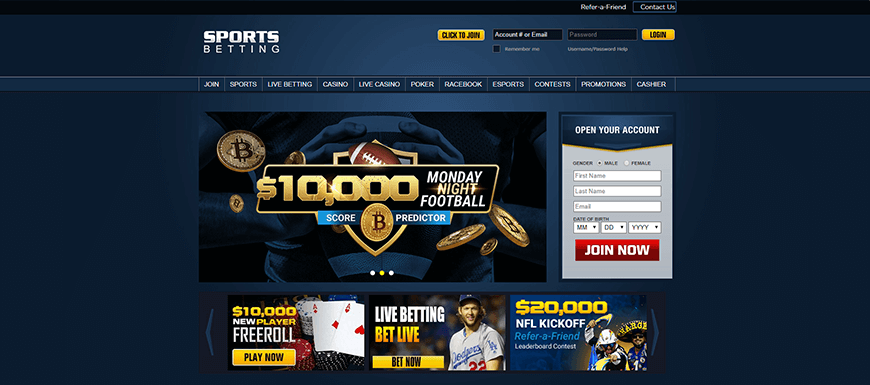 SportsBetting.ag Home Screen